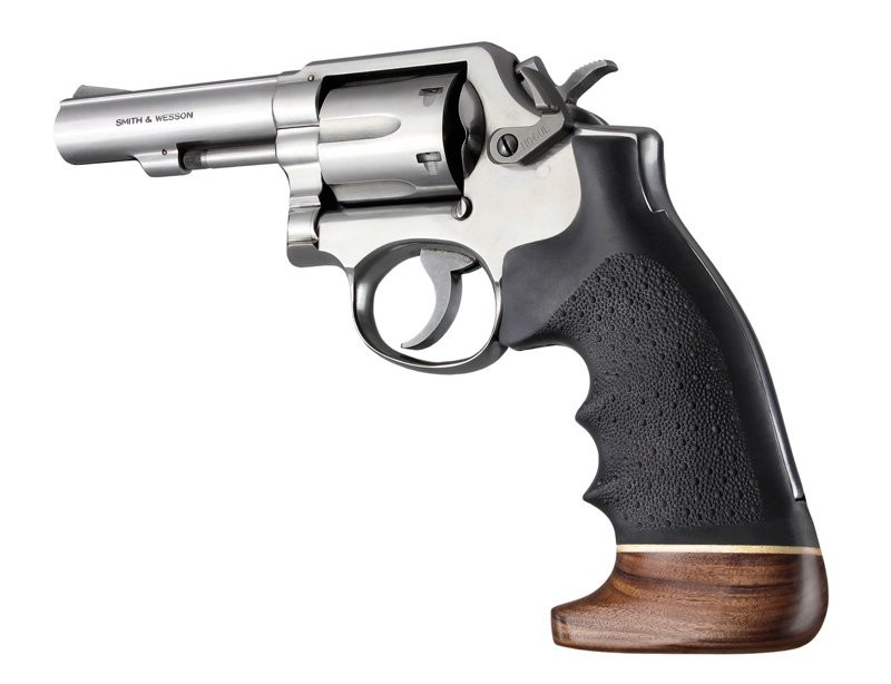 S&W K/L square butt finger grooves wood/rubber 10006