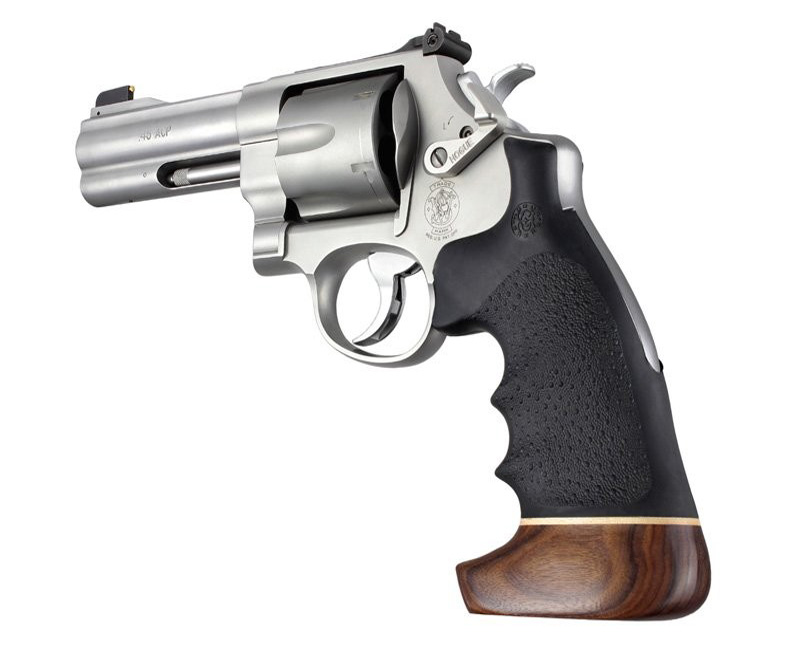 S&W N frame round butt conversion finger grooves wood/rubber 25006