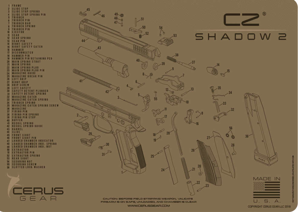 CZ shadow 2 schematic handgun mat - Gold Coast Shooters Supplies