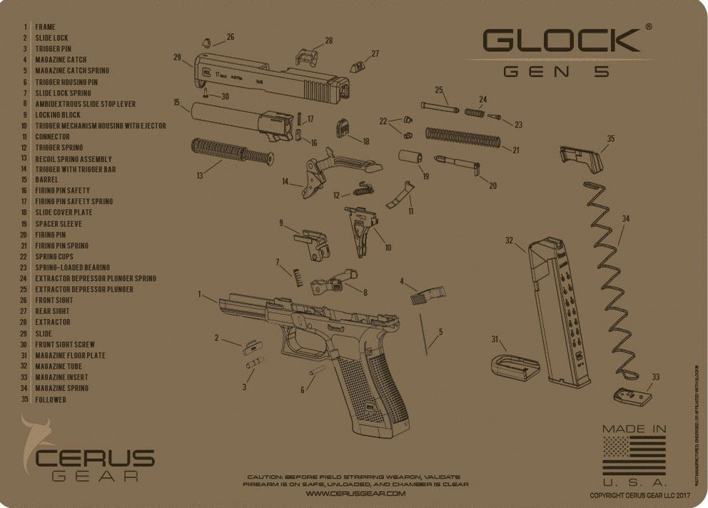 Glock Gen 5 schematic handgun mat tan Cerus