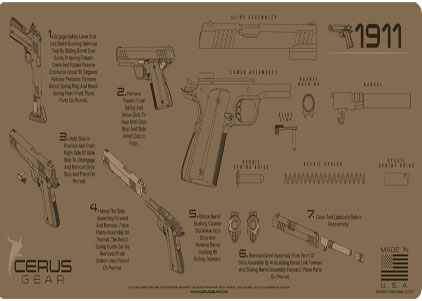1911 instructional handgun mat