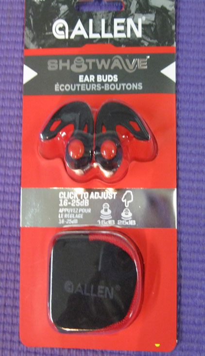 Allen Shockwave earbuds 16/25db rating