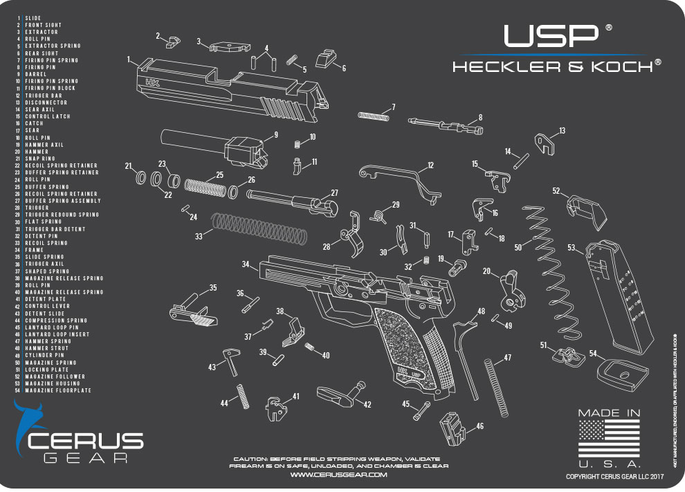 Heckler & Koch VP9 Black Handgun Mat