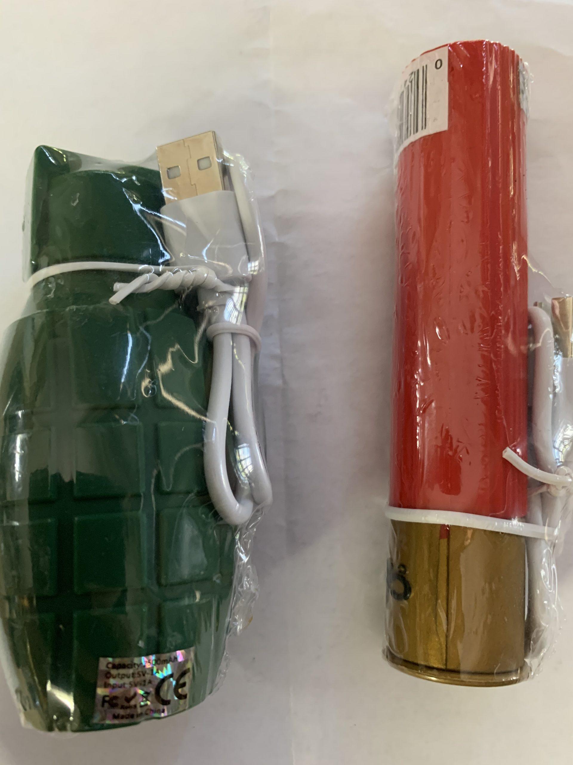 Grenade or Shotshell Powerbank 2500 MAH capacity + cable